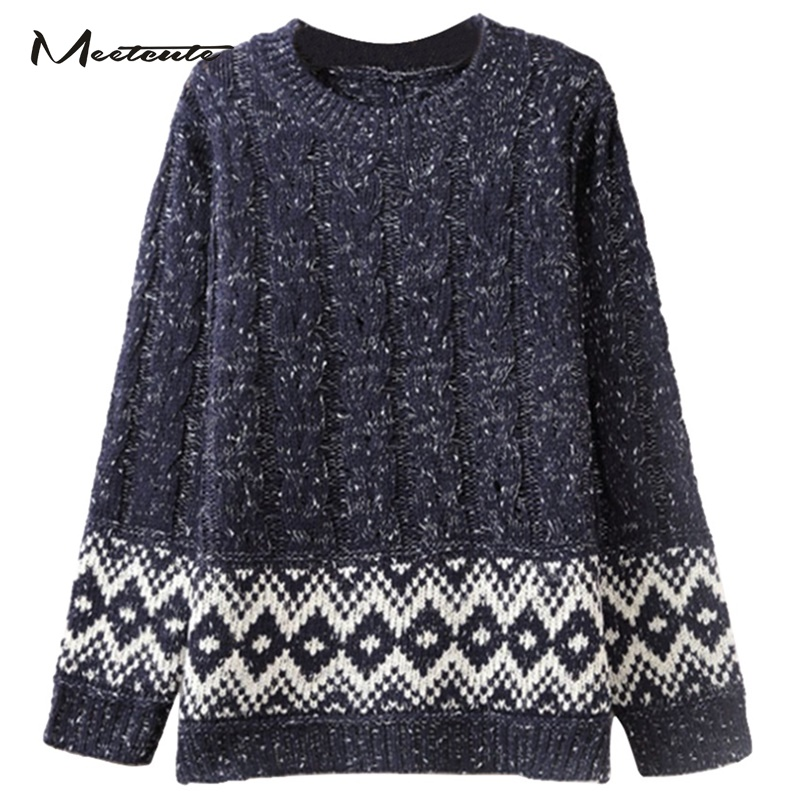 Meetcute New Design Christmas Maternity Sweaters Argyle Pattern Long Sleeve Casual Warm Knitted Clothes for Pregnant Lady