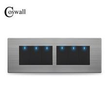 COSWALL 6 כנופיית 2 דרך לעבור דרך אור מתג על/Off קיר מתג להעביר עם LED חיווי נירוסטה פנל 197*72mm