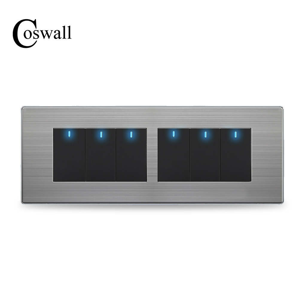 COSWALL 6 Gang 2 Way Luxury Light Switch Push Button Wall Interruptor With LED Indicator Stainless Steel Panel 197* 72mm usb thermostat temperature control push button switch timer switch third gear with led light line 5v 2 5a