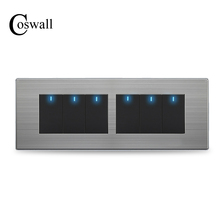 COSWALL 6 Gang 2 Way Pass Through Light Switch On / Off Wall Switch Switched With LED Indicator Stainless Steel Panel 197* 72mm