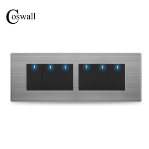 Image 1 - COSWALL 6 Gang 2 Way Pass Through Light Switch On / Off Wall Switch Switched With LED Indicator Stainless Steel Panel 197* 72mm