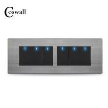 COSWALL 6 Gang 2 Way Pass Through włącznik światła włącznik/wyłącznik przełącznik do montażu ściennego przełączany z diodą LED Panel ze stali nierdzewnej 197*72mm