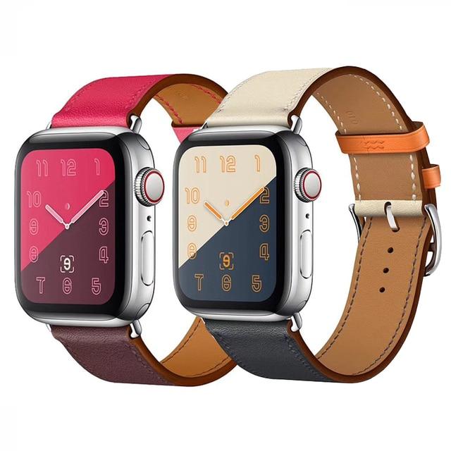 Часы ремешок для Apple Watch серии группа 3/2/1 Спортивный Браслет 42 мм 38 мм 44 мм ремешок для iwatch 4 band кожаный петли