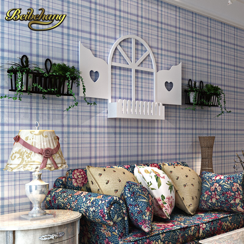 beibehang wall paper British Mediterranean-style non-woven Pune plaid wallpaper bedroom living room children's room full
