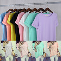new large size mm female students with fat class service bestie candy colored short sleeved T-shirt with short sleeved