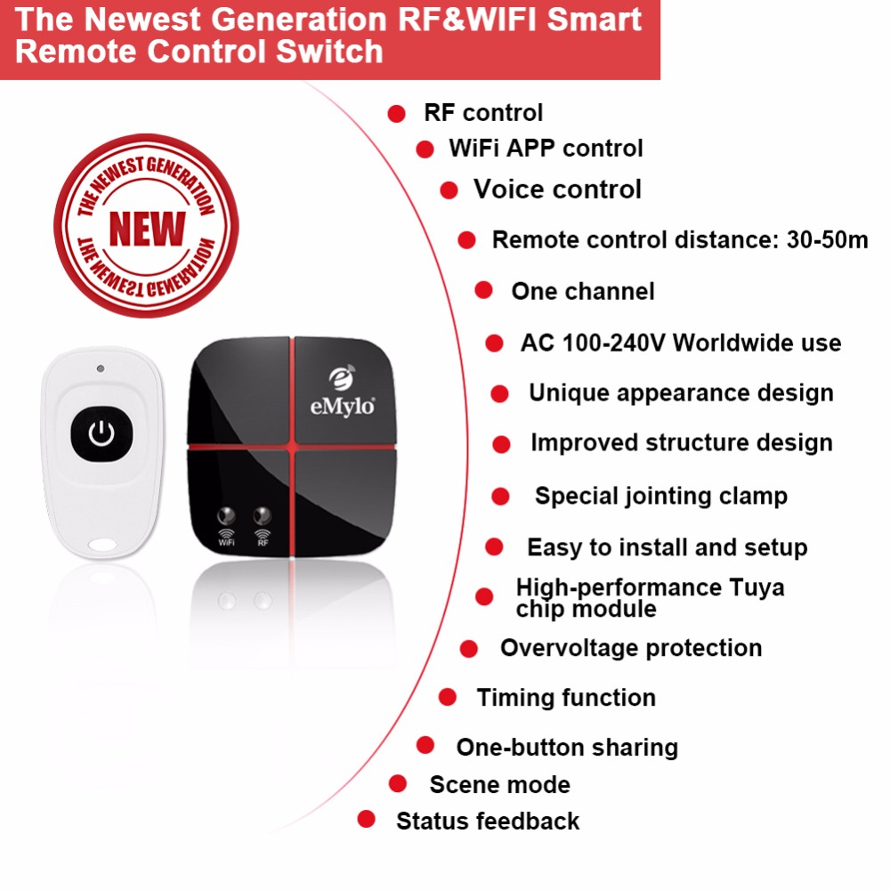 eMylo Smart Wifi Relay Switches Wireless 433Mhz RF Remote Control Compatible with Alexa Google Home AC 90V 250V 1 Channel in Switches from Lights Lighting