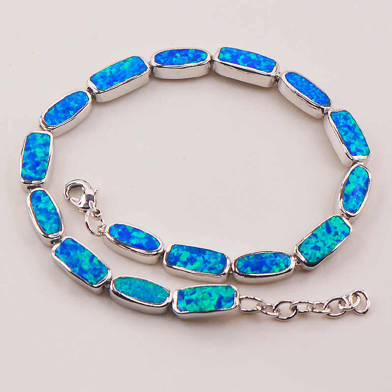 "Blue Fire Opal 925 Sterling Silver Bracelet  P91 8""  Free Ship High quantity Factory price"