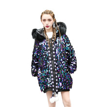 Womwn cotton coat 2018 winter new tide sequins loose coat Hooded fur collar jacket long paragraph thickening warm women coat(China)