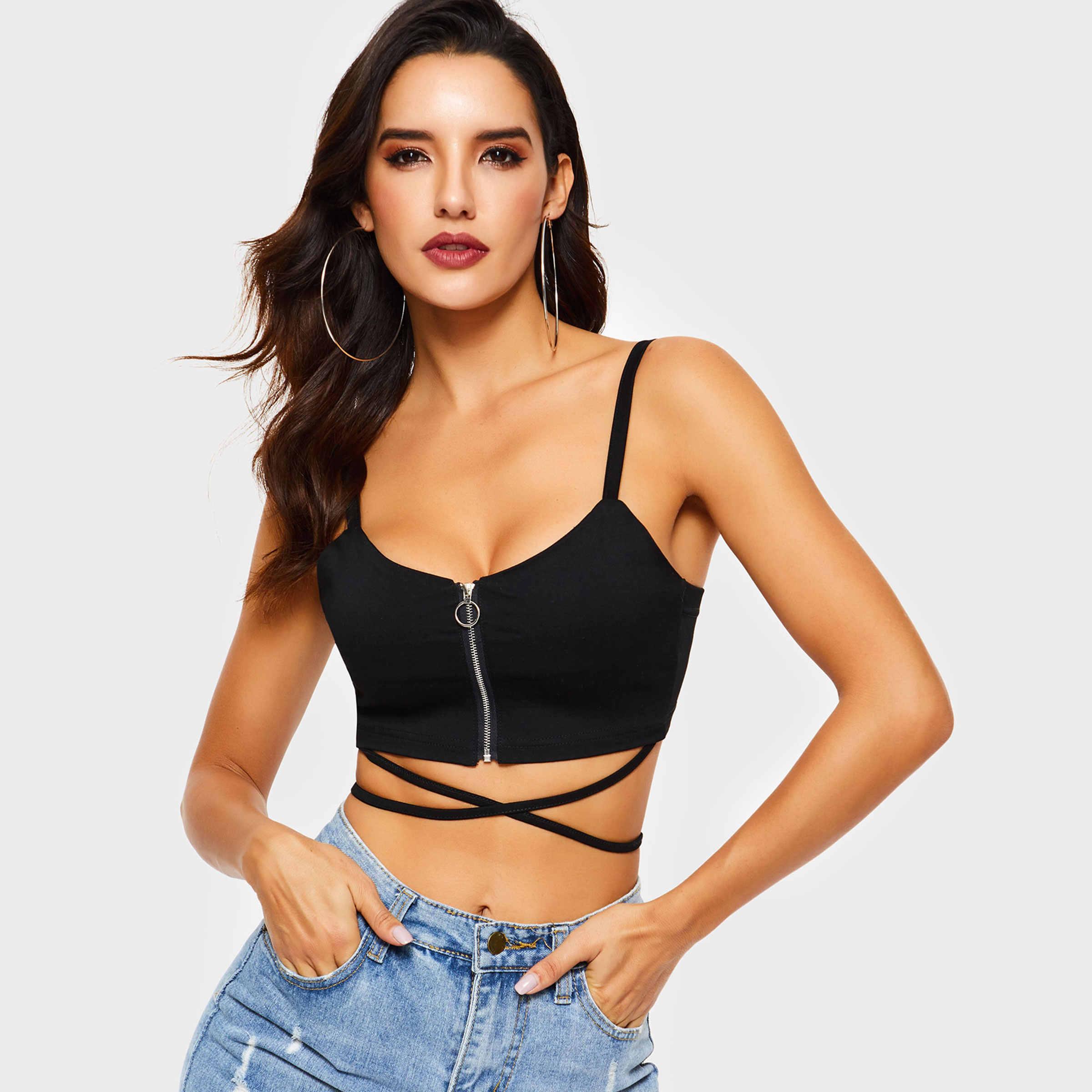 2019 Women Sleeveless Sexy Bandage T Shirt Top Fashion Black Lace Up Tank Top Party Club Wear Slim Waist Front  Zipper Crop Top