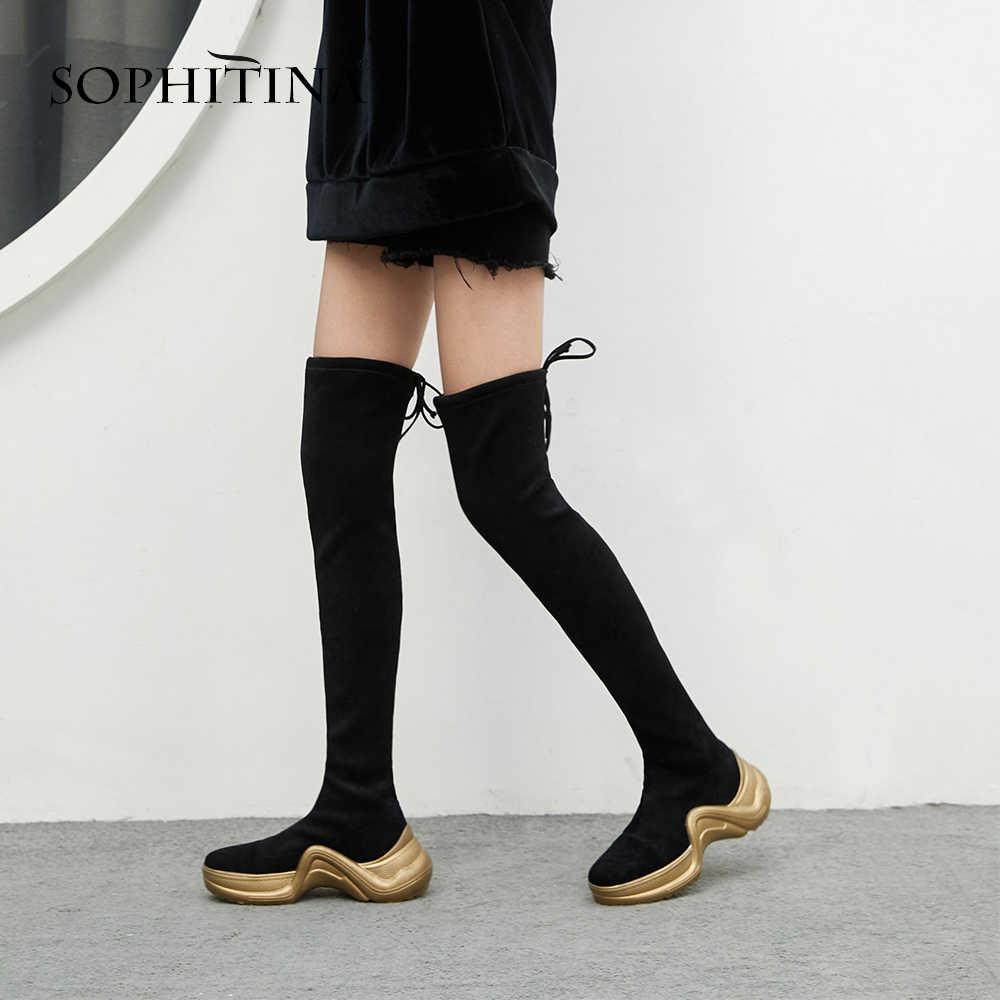 SOPHITINA marka diz yüksek günlük çizmeler yüksek kaliteli el yapımı streç kumaş kadın ayakkabı altın kalın alt botlar PO1089