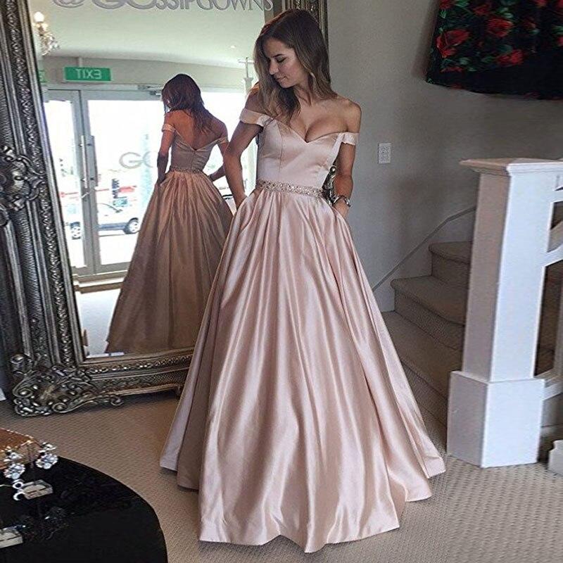 d2e767792325871 Длинные атласные вечерние платья с карманами из бисера с открытыми плечами  2019 вечерние элегантные вечерние платья