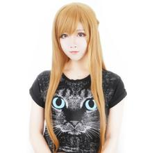 Sword Art Online Yuuki Asuna Wig 80cm Long Straight Anime Cosplay Wig for Women Girls Costume Party Wig Halloween Cos Wig Brown