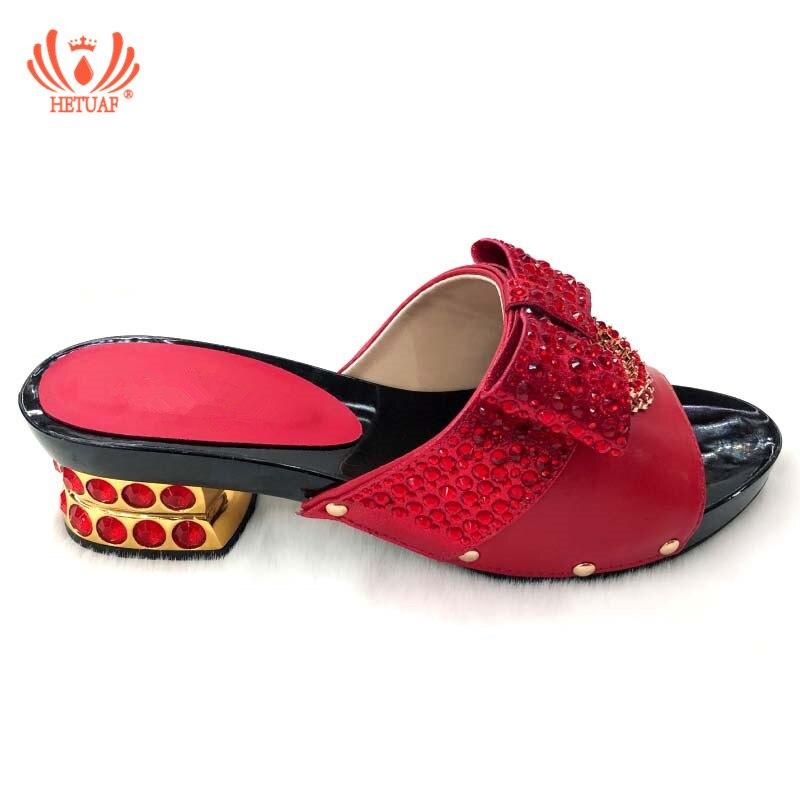 Noir Italien Africain Élégant Les Sur Sandales Glissent rouge Faible Chaussures Mariage Des Pour Talons or Rouge argent De jaune Pompe Pantoufle Femmes Parties bleu nZpUtU