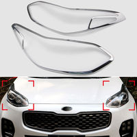 Chrome Front Headlight Lamp Cover Trim Surround Bezel For Kia Sportage 2017 2018 Car Styling