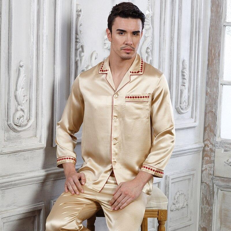 2019 Man's Genuine Silk Pajamas Long-Sleeved Sets Silkworm Silk Home Wear Two-Piece 100% Silk Sleepwear Male 15076