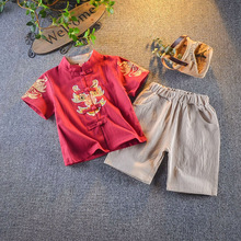 Boys Summer Short-Sleeved Retro Han Chinese Childrens Suit Baby Style Tang