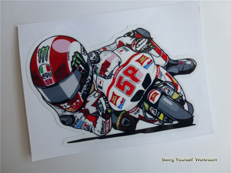 Moto gp marco simoncelli stickers no 58 for racing motorcycle helmets