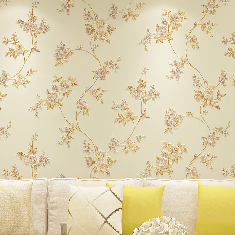 beibehang  papel de parede Pastoral non-woven wallpaper large three-dimensional flowers simple bedroom living room full backdrop