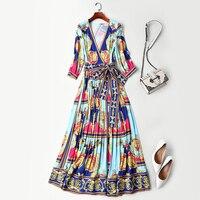 Новая женская одежда в европейском и американском стиле, высокое качество, v образный вырез, узкое и гофрированное обернутое платье