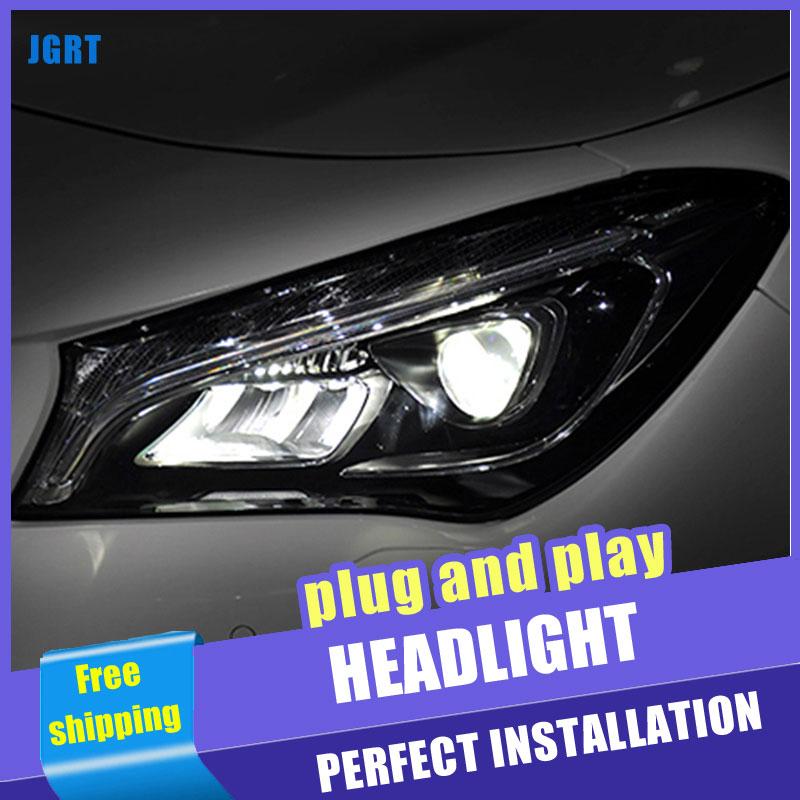 2 pièces voiture Style LED phares pour Benz CLA 14-18 pour CLA lampe frontale tout LED DRL lentille Double faisceau H7 caché xénon bi xénon lentille