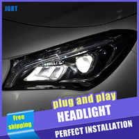 Faros delanteros LED de 2 uds para coche para Benz CLA 14-18 para lámpara frontal CLA, todos los cristales LED DRL de doble haz H7, lentes de Xenón HID Bi Xenon