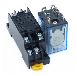 Image 4 - 10 pz relè LY2NJ DC12V DC24V AC110V AC220V piccolo relè 10A 8 pin bobina DPDT con Base presa