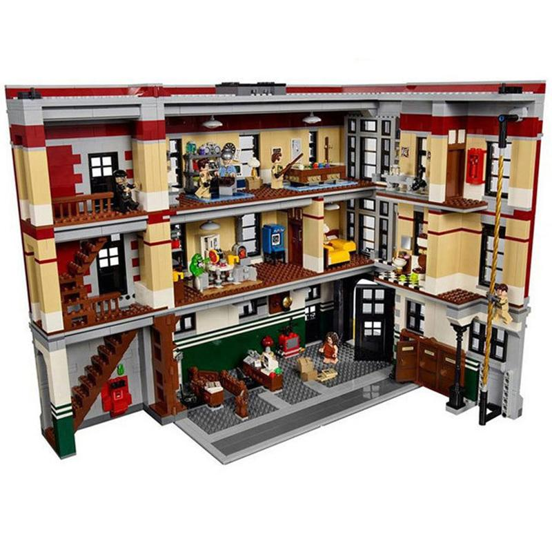 ФОТО lepin 16001 4695pcs ghostbusters firehouse headquarters model building kits model set minifigure compatible with 75827