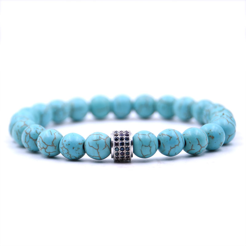 Kang hua 5 colors 8mm Natural stone Bracelet Pave CZ Silver cylinder Glamour jewelry for Women Men Popular jewelry charm gift in Strand Bracelets from Jewelry Accessories