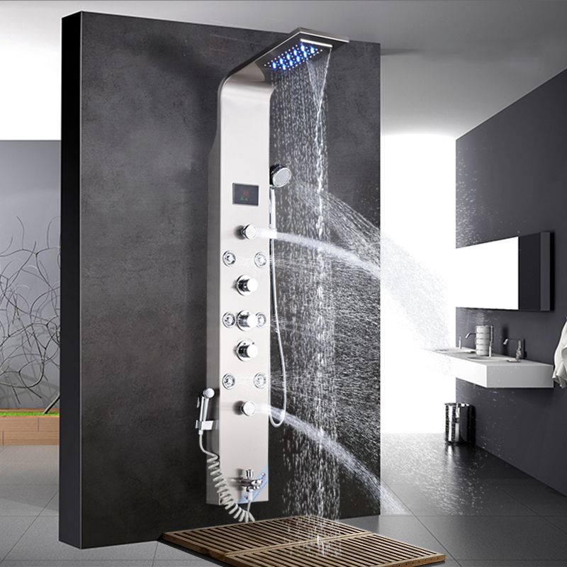 Bathroom Fixtures Imported From Abroad Bathroom Shower Column Rain Waterfall Shower Panel Tower Shower Faucet W Body Spa Massage Jets Tub Spout Mixer Tap For Bath Back To Search Resultshome Improvement