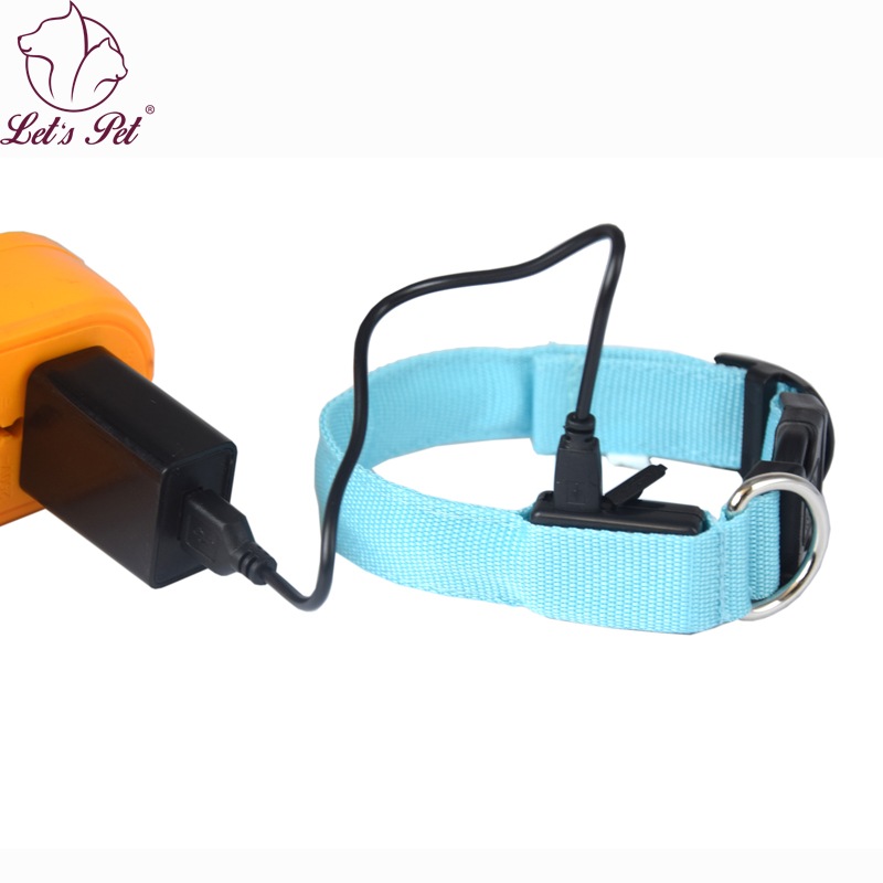 Hot selling Nylon Pet Dog Collar LED Light Night Safety Walking led dog collar light USB Rechargeable