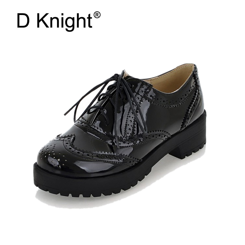 New Fashion Round Toe Lace Up Women Oxfords Vintage Carved Brogue Oxford Shoes For Women Ladies Casual Flat Shoes Big Size 34-43 new round toe slip on women loafers fashion bow patent leather women flat shoes ladies casual flats big size 34 43 women oxfords