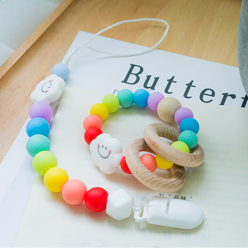1pc Pacifier Chain Clips 15mm Silicone Beads Food Grade Silicone Rainbow Rattle Toys  Wooden Ring Holder For Nipples Products