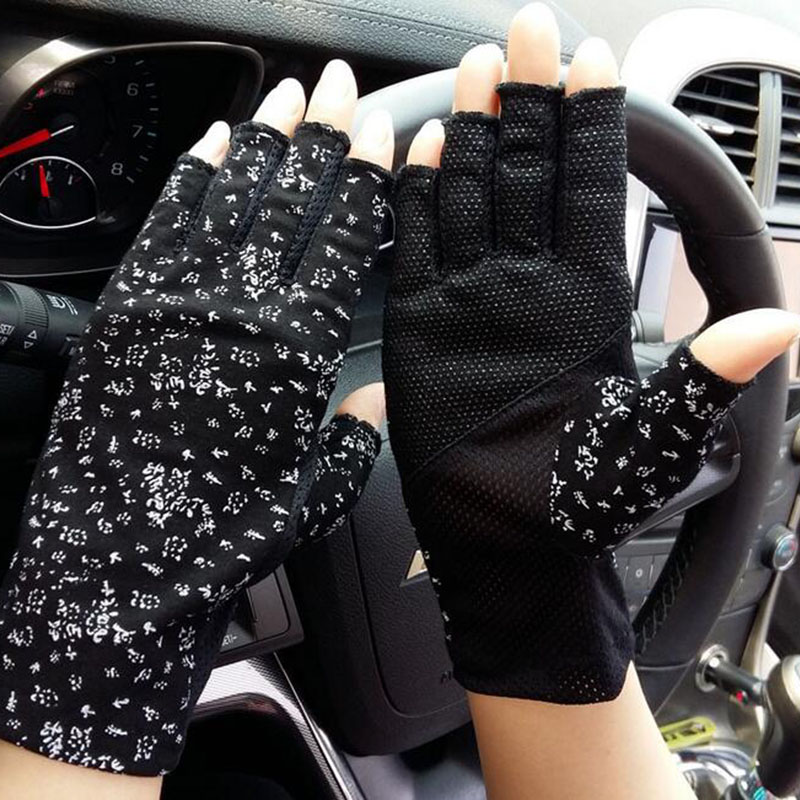 Female Summer Outdoor Sports Fitness Cycling Sunscreen Short Sun Gloves Women Thin Cotton Fashion Half Finger Driving Gloves L19