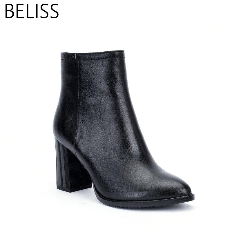 BELISS 2018 35-41 di autunno della molla delle donne della caviglia stivali di pelle di spessore tacco alto punta a punta caldo stivali casuali delle signore fatti a mano B3