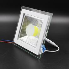 COB Square led down lights recesed luces glass 9W 12W 15W high power warm cold white 110V -240V Free Shipping