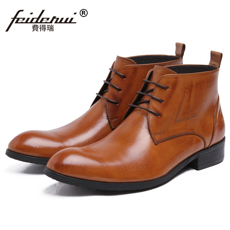 2017 Fashion Luxury Brand Man Cowboy High-Top Shoes Designer Genuine Leather Round Toe Mens Martin Motorcycle Ankle Boots CA47