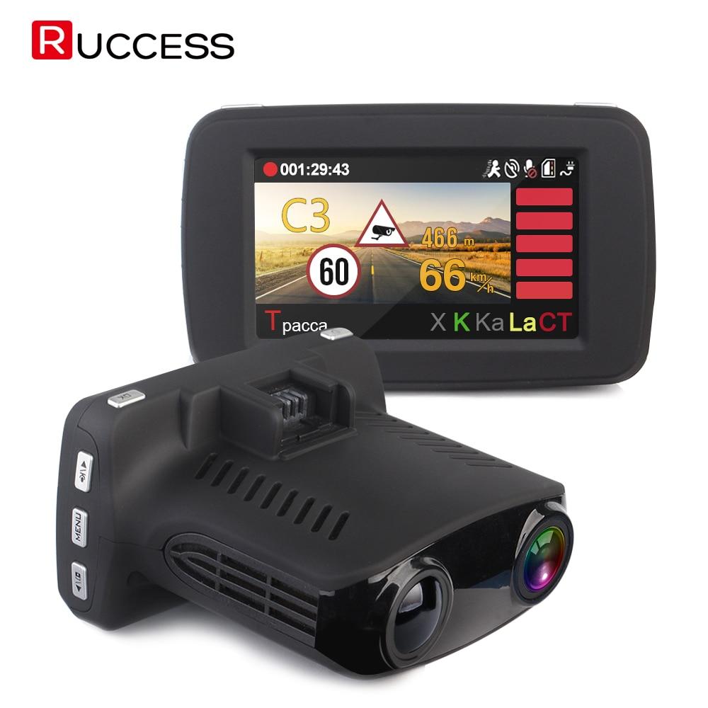 RUCCESS Voiture DVR Détecteur de Radar GPS 3 en 1 Russe Voix Speedcam Anti Radar Détecteurs Full HD 1296 P 2.7 voiture Caméra Dash Cam