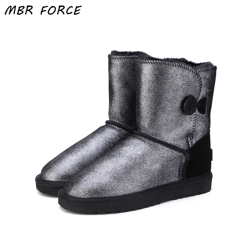MBR FORCE Women shoes 2018 fashion Women Genuine Leather waterproof UG Snow Boots chaussure femme hiver womens Winter Boots goncale high quality band snow boots women fashion genuine leather women s winter boot with black red brown ug womens boots