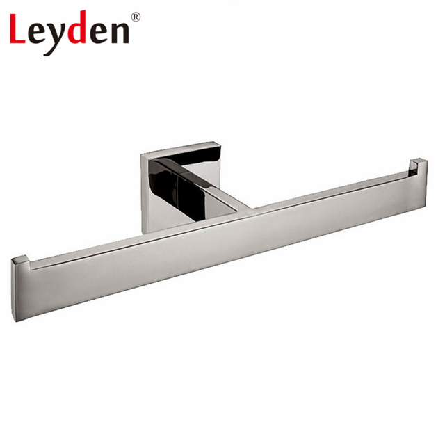 Leyden High Quality Stainless Steel Square Polished Chrome Towel Ring Wall Mounted Rack Double
