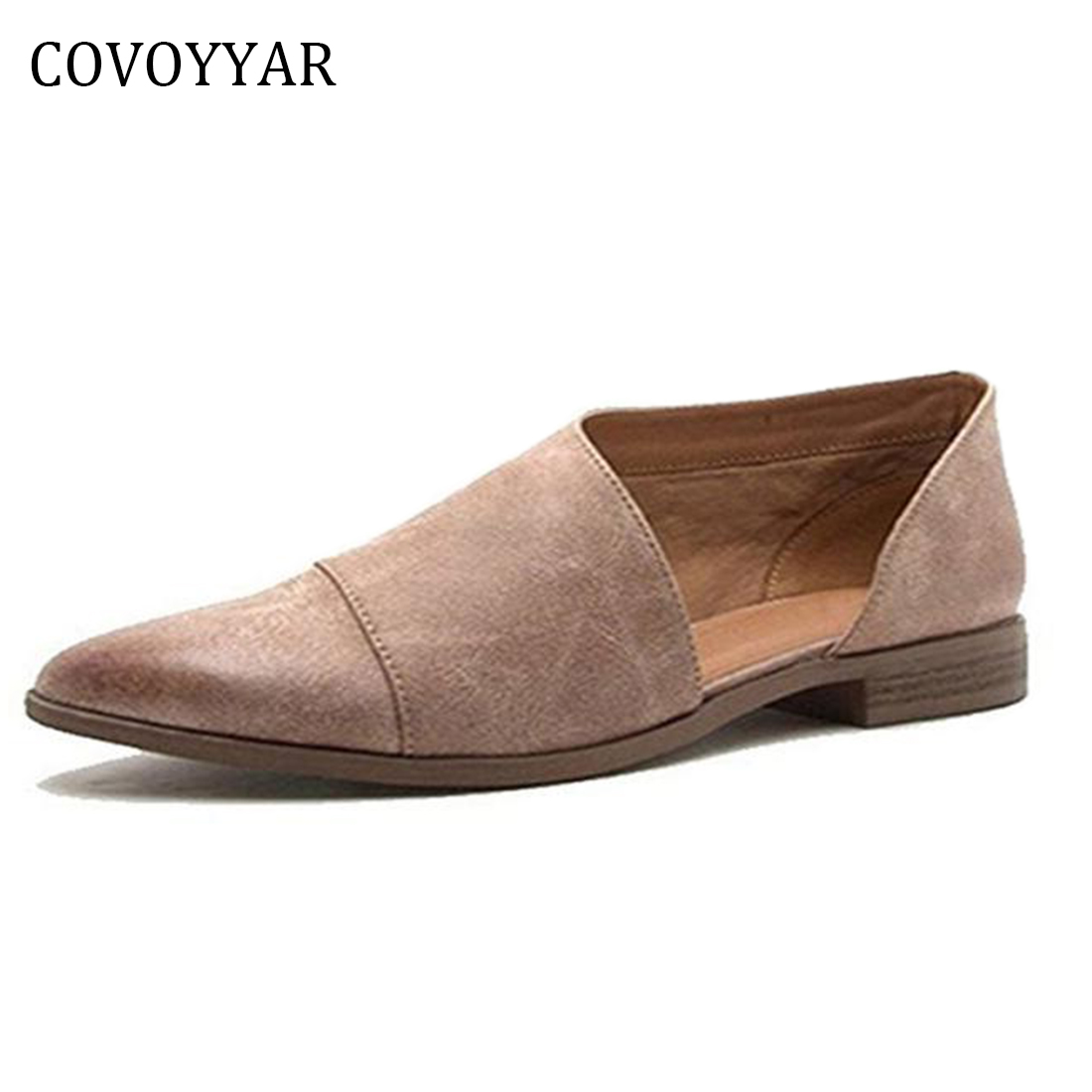 COVOYYAR 2018 Vintage Women Shoes Spring Autumn Pointed Toe D'Orsay Flats Shallow Top Lady Oxfords Loafers Plus Size 43 WFS323 covoyyar 2018 fringe women sandals vintage tassel lady flip flops summer back zip flat women shoes plus size 40 wss765