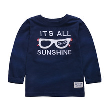 Cartoon Children's Clothing Spring Fall Long Sleeve T-Shirts Cotton O-Neck Tops Handsome Glasses Letter Soft Kids Tee