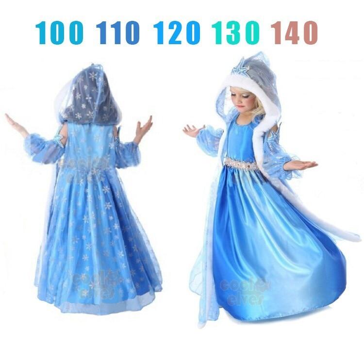 Kids Girls Forever Elsa Dress Ball Gown Princess Vestido Dress Gloves Cloak 3pcs Set Halloween Christmas Fanny Deguisement