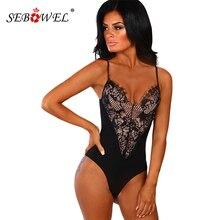 SEBOWEL 2019 Summer Bodycon Floral Lace Bodysuit Women Black/White Sexy V Neck Sleeveless Bodysuits Spaghetti Strap Body Tops