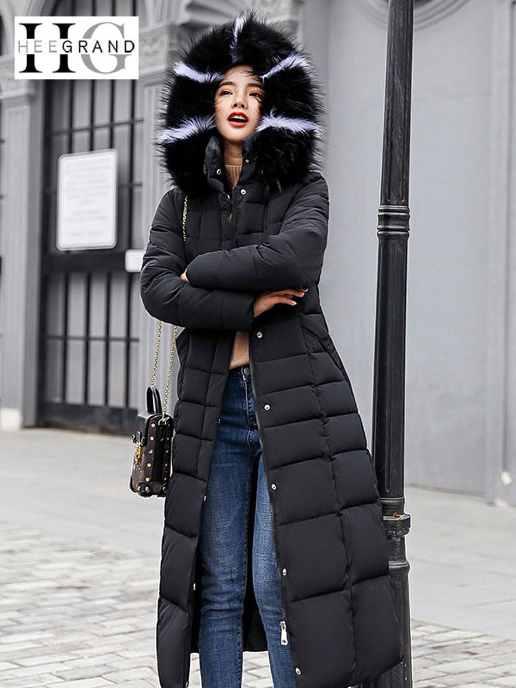 HEE GRAND Maxi Winter Coat for Women 2018 Autumn Jackets Slim Ladies Fur Coats X-Long Cotton   Parkas   Casaco Feminino WWM1690