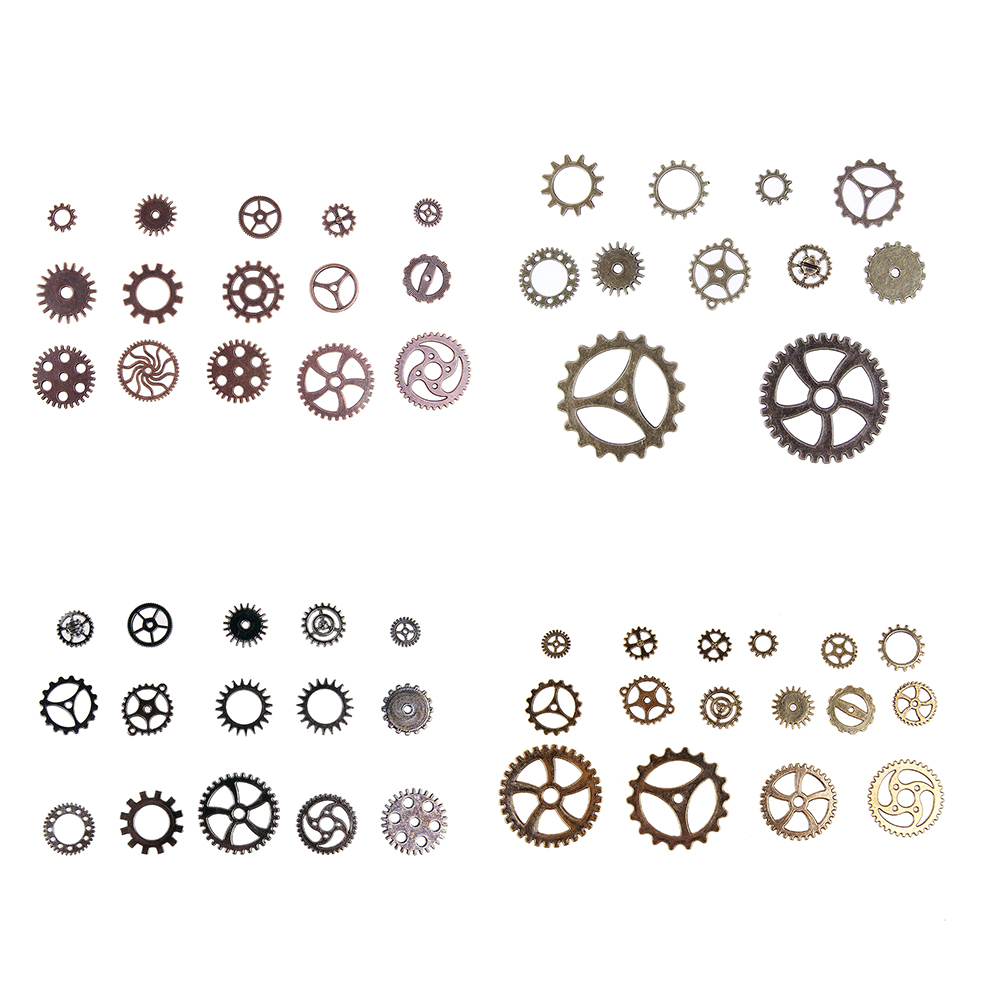 100pcs Steampunk Vintage Metal Mixed Gears Cog Wheel Charms Pendant Sets DIY Necklace Bracelet Gear Craft Jewelry Accessories