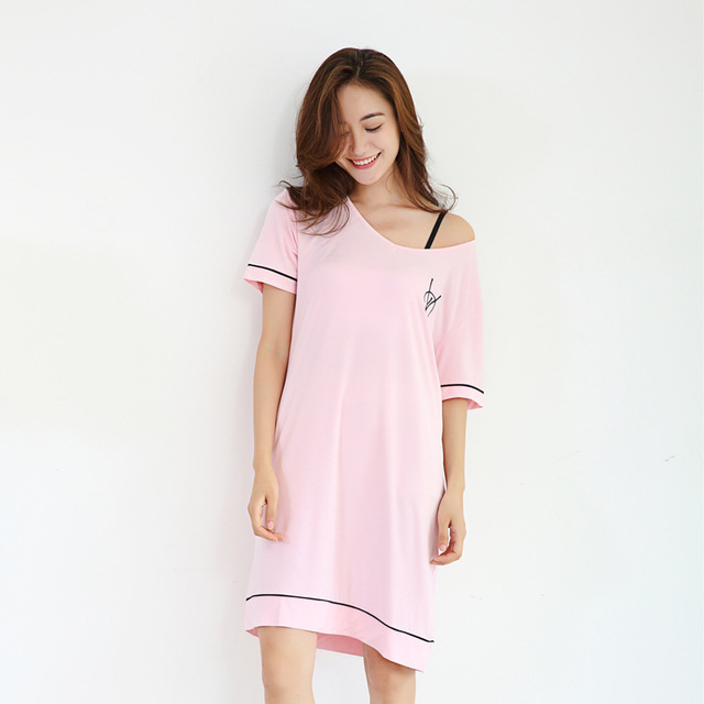 Women s Nightgown Summer Modal Nightdress Short Sleeve Negligee Knitted Nightie  Women Sleepwear Loose Nightwear Homemade Dress 399182c1b
