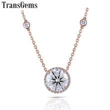 Transgems Genuine 18K 750 Rose Gold Halo Pendant Neckalce Moissanite Center 5ct F Color VVS Halo Pendant 18 Inch Chain for Women lasamero halo 0 052ct 18k gold round cut square center pave set natural diamond pendant necklace chain women fine jewelry