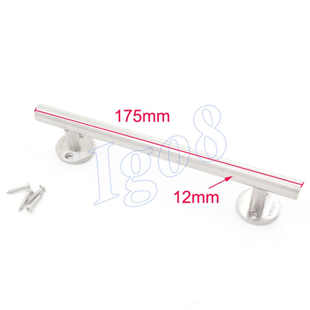 12mm x 175mm Door Pull Handles Silvery Tone Large Stainless Steel Cupboard Cabinet Handle 2pcs set stainless steel 90 degree self closing cabinet closet door hinges home roomfurniture hardware accessories supply