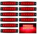 10x6 LED Vermelho Clearence Ônibus Caminhão Reboque Lado Marcador Indicadores de Luz Da Lâmpada 12 V 6LED
