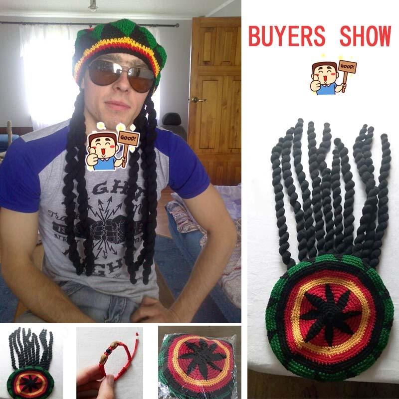 Gorro jamaiquino Bob Marley Rasta con Dreadlocks peluca trenza Fancy Cap  weebraids pelo africano envuelve trenzado gratis shoppin 66218534c3a